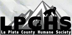 La Plata County Humane Society (Durango, Colorado) logo of mountain, dog, cat, La Plata County Humane Society text LPCHS