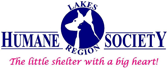 """Lake Region Humane Society (Ossipee, New Hampshire) logo is the org name with """"the little shelter with the big heart"""" tagline"""