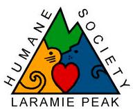 Laramie Peak Humane Society (Douglas, Wyoming)   logo of cat, dog, mountain, heart and text Laramie Peak Humane Society