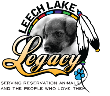 Leech Lake Legacy (Bloomington, Minnesota) logo of puppy in circle with feathers, blue paw and text Leech Lake Legacy