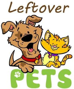 """Leftover Pets, Inc. (Winder, Georgia) logo is the org name with a dog and cat between the words and a pawprint in the """"P"""""""