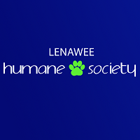 """Lenawee Humane Society (Adrian, Michigan) logo is the organization name with a pawprint between """"Humane"""" and """"Society"""""""