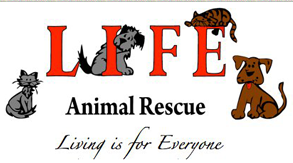 """L.I.F.E. Animal Rescue (Agoura Hills, California) logo is the org name with cats & dogs around it plus """"Living is for Everyone"""""""