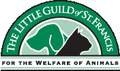 Little Guild of Saint Francis (West Cornwall, Connecticut) logo is black dog, green cat with text For the Welfare of Animals