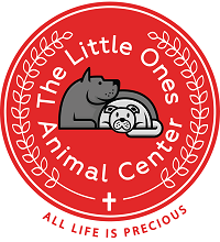 The Little Ones Animal Center (Huntington Beach, California) logo is a red circle with two grey dogs and the org name inside