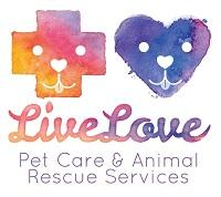Live Love Animal Rescue (Long Beach, California) logo of dog in cross and car in heart cartoon, live love animal rescue