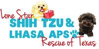 "Lone Star Shih Tzu & Lhasa Apso Rescue (Houston, Texas) logo has Shih Tzu & Lhasa Apso dogs with the org name with pawprint ""o"""