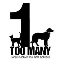 """Long Beach Animal Care Services (Long Beach, California) logo is """"1 Too Many"""" with the """"1"""" between a dog and cat"""
