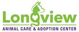 """Longview Animal Care & Adoption Center (Longview, Texas) logo has a cat and dog profile with a heart forming the """"g"""""""