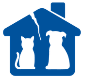 Lost Our Home Pet Rescue (Tempe, Arizona) logo of blue house with chimney, dog, cat, silhouette and crack in roof
