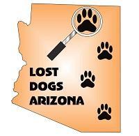 Lost Dogs Arizona (Glendale, Arizona) logo of Arizona state, paws and magnifying glass with text Lost Dogs Arizona
