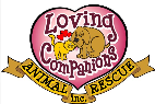 Loving Companions Animal Rescue (North Pole, Alaska) logo looks like a heart tattoo with a dog, cat, hearts & the org name