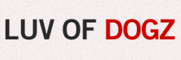 """Luv of Dogz Fund (Scottsdale, Arizona) logo is """"LUV OF DOGZ"""" in black and red letters"""