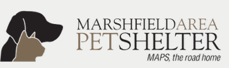 Marshfield Area Pet Shelter, (Marshfield, Wisconsin) logo silhouette profile of dog head behind cat head to the left of the name