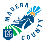Madera County Animal Services (Madera, California) logo is courthouse in blue with sun over mountains