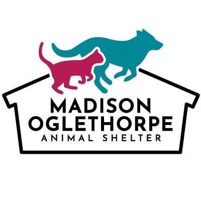 Madison Oglethorpe Animal Shelter (Danielsville, Georgia) logo dog and cat running by house