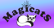 """Magicats (Buhl, Idaho) logo is a cat lying under the organization name with rays coming off the dot on the """"i"""""""
