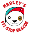 Marley's Pit Stop Rescue (NKLA) (Los Angeles, California) logo of Pitbull with baseball cap and text Marley's Pit Stop Rescue