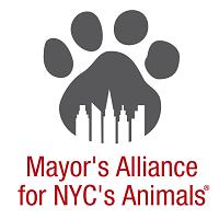Mayor's Alliance for NYC's Animals (New York, New York) logo of pawprint, paw, New York City skyline, buildings, skyscraper