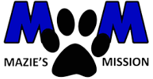 Mazie's Mission (Frisco, Texas) logo is two blue M's above the org names with a black pawprint between them