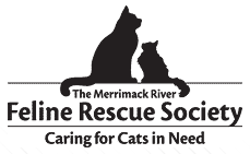 Merrimack River Feline Rescue Society (Salisbury, Massachusetts) logo has shadow profiles of two cats sitting above the org name