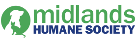 Midlands Humane Society (Council Bluffs, Iowa) logo is a green circle with a white dog and green cat inside next to the org name