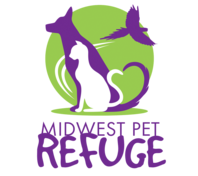 Midwest Pet Refuge (Portland, Indiana) logo is the org name under a green circle with a white cat and purple dog and bird inside