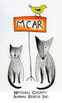 """Mitchell County Animal Rescue (Spruce Pine, North Carolina) logo is a dog & cat sitting next to a """"MCAR"""" sign with a bird on it"""