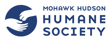 Mohawk Hudson Humane Society (Mendands, New York) logo in blue and white with hand open for paw to left of org name