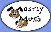 """Mostly Mutts Animal Rescue and Adoptions (Kennesaw, Georgia) logo is """"Mostly Mutts"""" with the M's made by a dog's ears"""