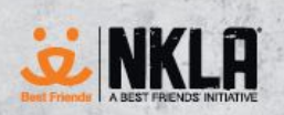 NKLA Pet Adoption Center (Los Angeles, California) logo of Best Friends in orange, NKLA, A Best Friends Initiative