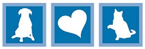 Nassau Humane Society (Fernandina Beach, Florida) logo is white shadows of a dog, heart, and cat each in a blue box