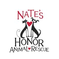 Nate's Honor Animal Rescue (Bradenton, Florida) logo is a heart between a black dog and cat in the middle of the org name