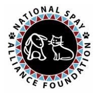 National Spay Alliance Foundation (Dalton, Georgia) logo of circle with dog, cat silhouette, red, blue triangles, paw prints