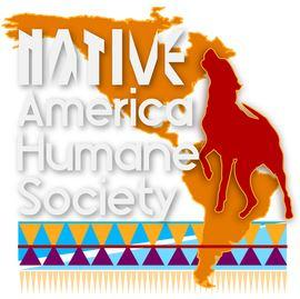 The Native America Humane Society (Torrance, California)   logo of North South America, red dog, Native America Humane Society