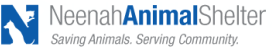 """Neenah Animal Shelter (Neenah, Wisconsin) logo is an """"N"""" formed with profiles of a dog and cat next to the organization name"""