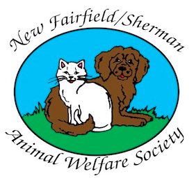 New Fairfield Sherman Animal Welfare Society (New Fairfield, Connecticut) logo of brown dog, white cat on grass with blue sky