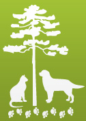 North Baldwin Animal Shelter (Bay Minette, Alabama) logo is a dog and cat under a tree with paw prints underneath it