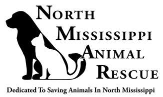 North Mississippi Animal Rescue (Sardis, Mississippi) logo has a white cat sitting next to a black dog next to the org name