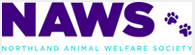 """Northland Animal Welfare Society (Riverside, Missouri) logo is """"NAS"""" with paw prints in purple and their name"""
