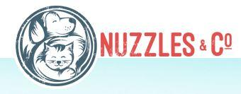 Nuzzles & Co. (Park City, Utah)  of dog and cat hugging, black-and-white silhouette, circle, nuzzles & co in red