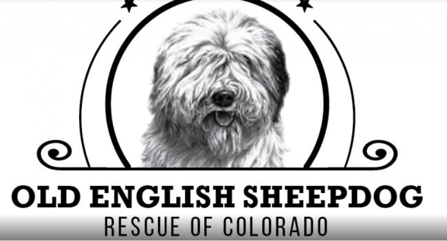 Old English Sheepdog Rescue of Colorado, (Peyton, Colorado)logo black and white dog face with black text below
