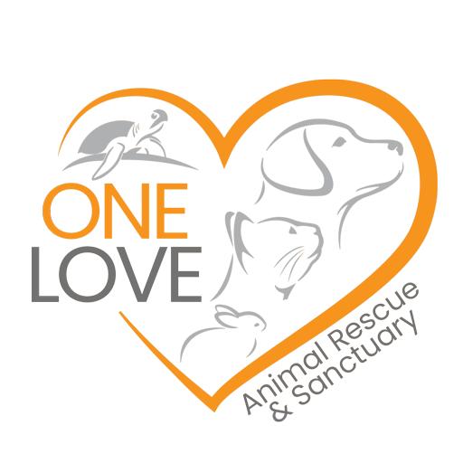 One Love Animal Rescue & Sanctuary (Brea, California) logo dog cat bunny turtle in orange heart
