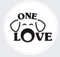 One Love Animal Rescue Group Inc, Browns Mills, New Jersey logo the word One above sketched dog ears and eyes above Love
