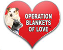 Operation Blankets of Love (Granada Hills, California) logo is the organization name and pictures of a dog and cat in a heart