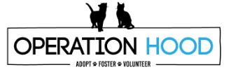 Operation Hood (Fredericksburg, Virginia) of two black cats, paw prints, adopt, foster, volunteer, operation hood