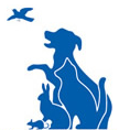 Our Companions Animal Rescue (Manchester, Connecticut) logo is blue dog, cat, bird, rabbit & mouse