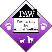Partnership for Animal Welfare (Greenbelt, Maryland) of purple square, white house, black roof, paw prints, dog, cat, PAW