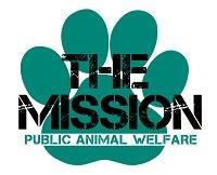 """The PAW Mission (Paloma, California) logo is a green pawprint with """"THE MISSION"""" and """"Public Animal Welfare"""" on it"""
