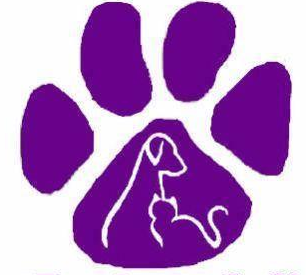PAWS of Northeast Louisiana (Monroe, Louisiana) logo is a purple pawprint with outlines of a dog and cat in the paw pad